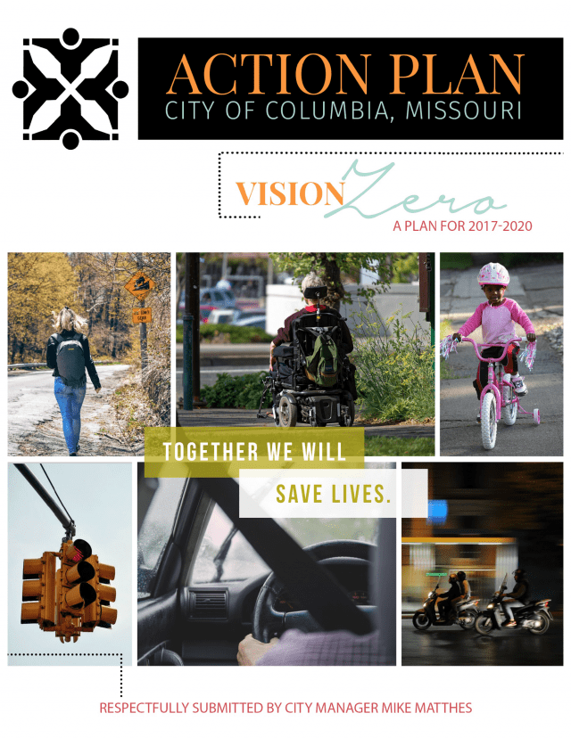 ​Cover of the 2017 City Of Columbia Vision Zero Action Plan ​